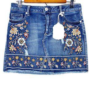 altar'd state skirt size Medium M blue denim embro
